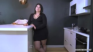 A horny guy is sitting on the chair, while a fat lady in stockings is riding his cock