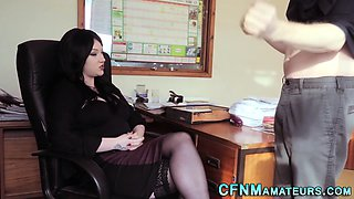 Clothed boss in stockings