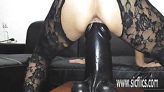 Gigantic dildo fucking sexy amateur MILF