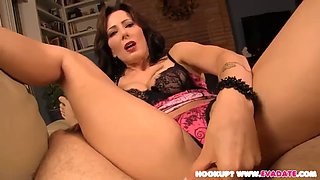 Stepmom strips and helps son to cum