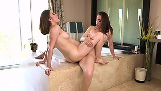 Stepdaughter and stepmom have a lesson of same-sexed fun