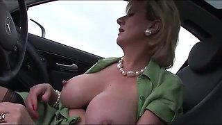 Busty English wife car play