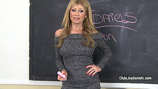 Teacher Lisa Daniels throats student's cock and swallows cum