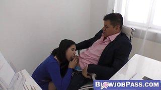 Naughty secretary lady dee riding boss cock after sucking it