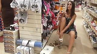 Girl without panties in a shoe store