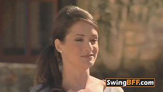 Swingers interact with experienced swingers in an erotic adventure in an open swing house