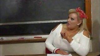 Sexy BBW teacher fucks her student on the desk