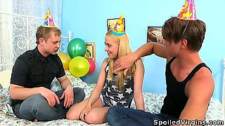 Threesome defloration is the best present for virgin's
