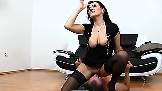 Hornt elder woman Marta stockings high heels and facesitting