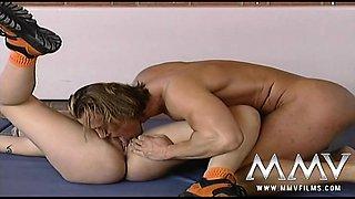 Petite blonde blowjobs her gym teacher at school