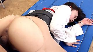 Nasty teacher Nozomi Hazuki gets a few big meat poles