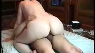 Fat Wife Rides Her Husband at Home