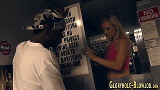 gloryhole babe sucks dick blowjob