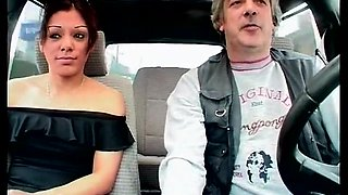 Sexy beurette is banged hard at the back of a car