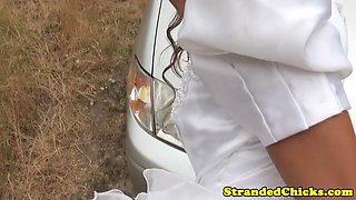 Pickedup euro bride cockrides driver POV
