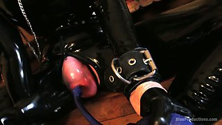 Pumped up pink cunt of latex queen Miss O gets flashed today
