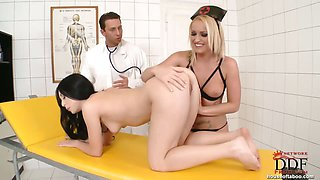 Doctor & nurse fisting patient