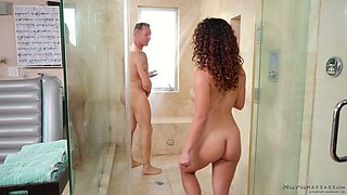 Sexy masseuse Liv Revamped gives a blowjob in the shower and gives a nuru massage