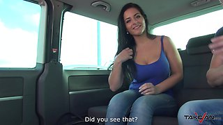 Busty sporty babe Alex gets her tits sprayed with cum in a car