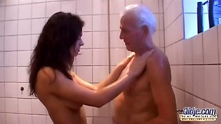 Sharing a shower with grandpa