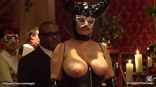 Nine stunning slaves presented at party