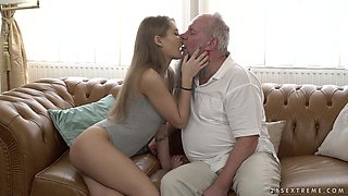 Tiffany Tatum fucking an aroused older gentleman with a beard