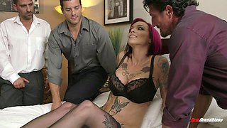 Three guys bang Anna Bell Peaks and cum on her big tits
