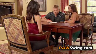 Mature couple looks forward to full swapping in the red room