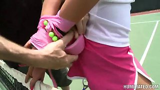 hot bondage sex on a tennis court with the hot marilyn scott