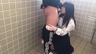 Japanese Schoolgirl Sucks Cock In Public Wc