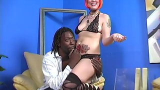 Milf Candy Monroe wearing a wig and riding her black fucker