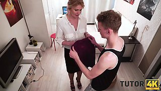 TUTOR4K. Young man poured tea on teachers clothes to make her strip and bonk