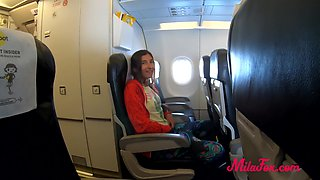 Ugly brunette blowjob on the plane