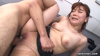 Kinky boss and his business partner fuck pretty secretary Mari Motoyama