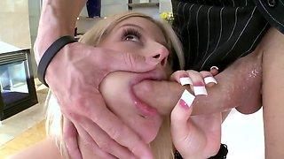 Lovely buxom blonde enjoys riding a fat piece of man meat