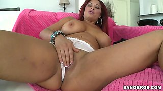 Redhead latina Helen Cielo gets naughty and wet
