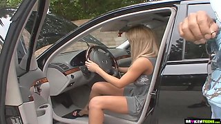 Big titted teen has some car trouble.