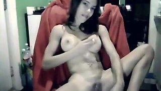 Horny tiny smoking slut plays with dildo in Wet pussy