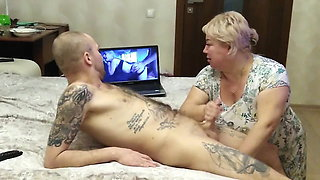mother-in-law helps me get pleasure and cum