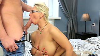 Blond milf with perfect big boobs Luba Love hooks up with young neighbor