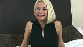 Blonde mexican slut Katherine takes two dicks on her soft bed