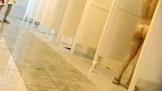 Hidden camera girls take a shower after swimming pool