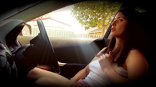 girl masterbating in car