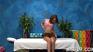 Oiled up teen babe is open for some freaky fucking