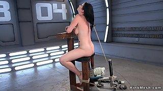 Hairy tied up babe fucks machine