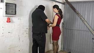 Spanked  fucked and sucking  in the garage