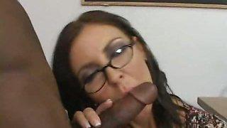 Sexy brunette teacher Maria Bellucci sucking student big