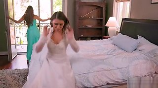 Maid of honor makes bride squirt in face
