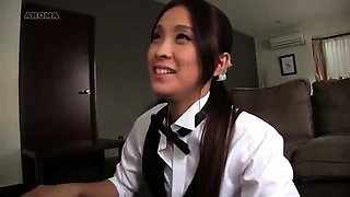 Naughty Asian ladies in uniform express their love for cock