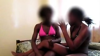 Horny African girlfriends go nasty licking each others